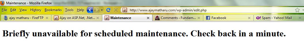 Wordpress scheduled maintenance message