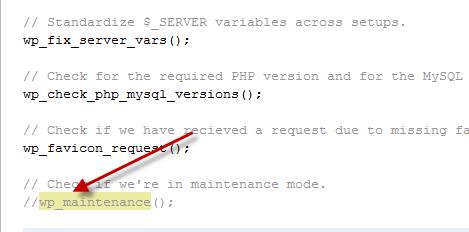 Bypass maintenance mode check in wordpress