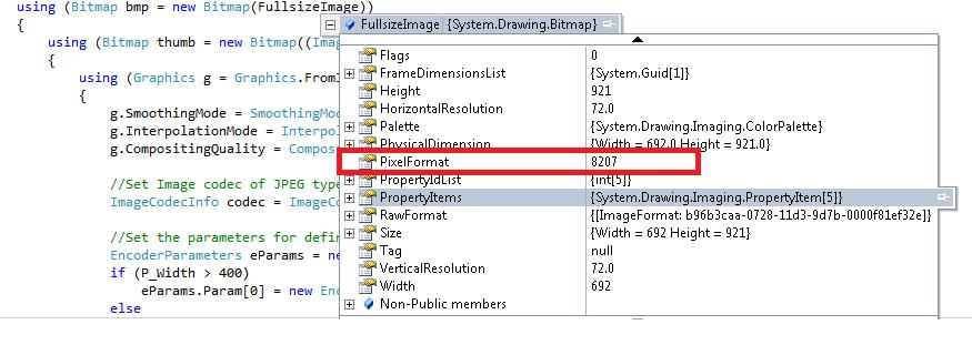 parameter is not valid in new bitmap having PixelFormat 8207